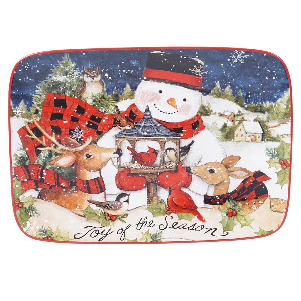 14 in. Magic of Christmas Snowman Multicolored Earthenware Rectangular Platter
