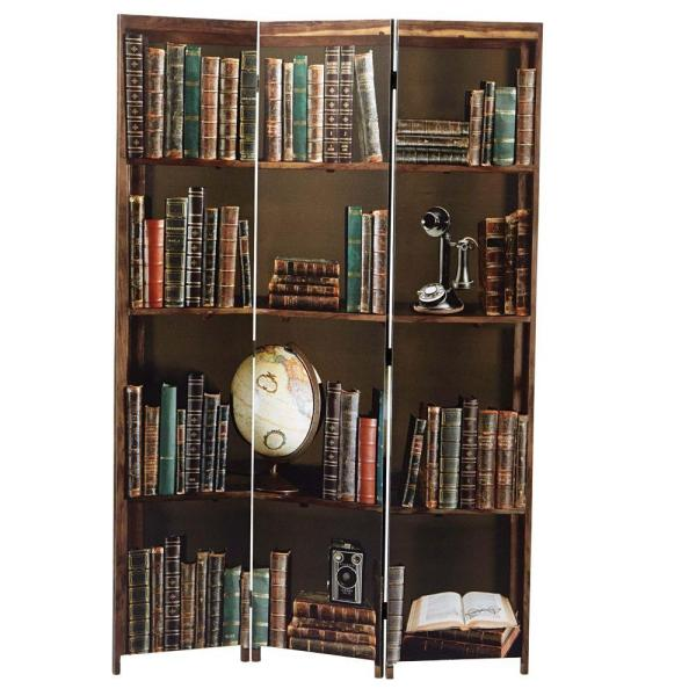 kieragrace Bota Triple-Panel Room Divider - Brown, 47'' by 71'', Books