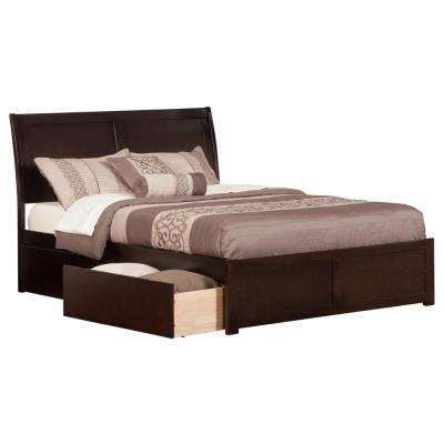 Portland Espresso Queen Platform Bed with Flat Panel Foot Board and 2-Urban Bed Drawers