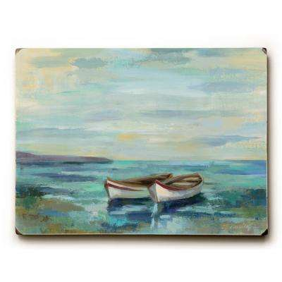 "9 in. x 12 in. ""Boats at the Beach"" by Silvia Vassileva Solid Wood Wall Art"