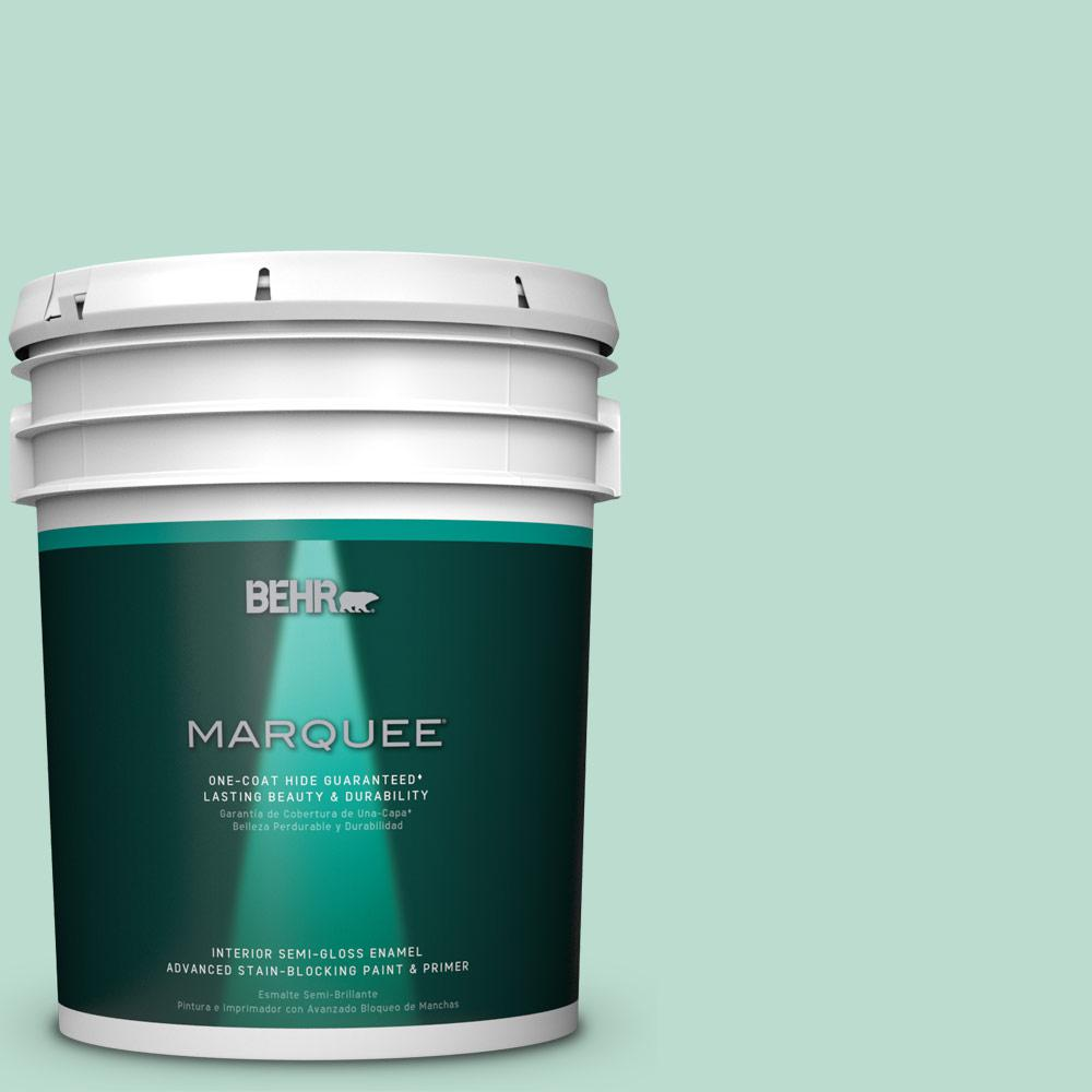 Behr Marquee 5 Gal M420 3 Mirador One Coat Hide Semi Gloss Enamel Interior Paint 345005 The