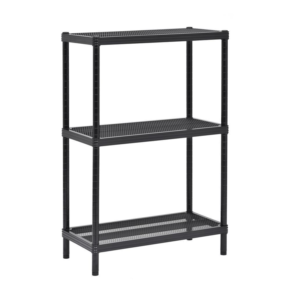 Black 3-Tier Boltless Steel Garage Storage Shelving Unit (24 in. W x 36 in. H x 12 in. D)