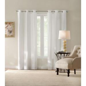 Semi-Opaque White Cotton Duck Grommet Curtain