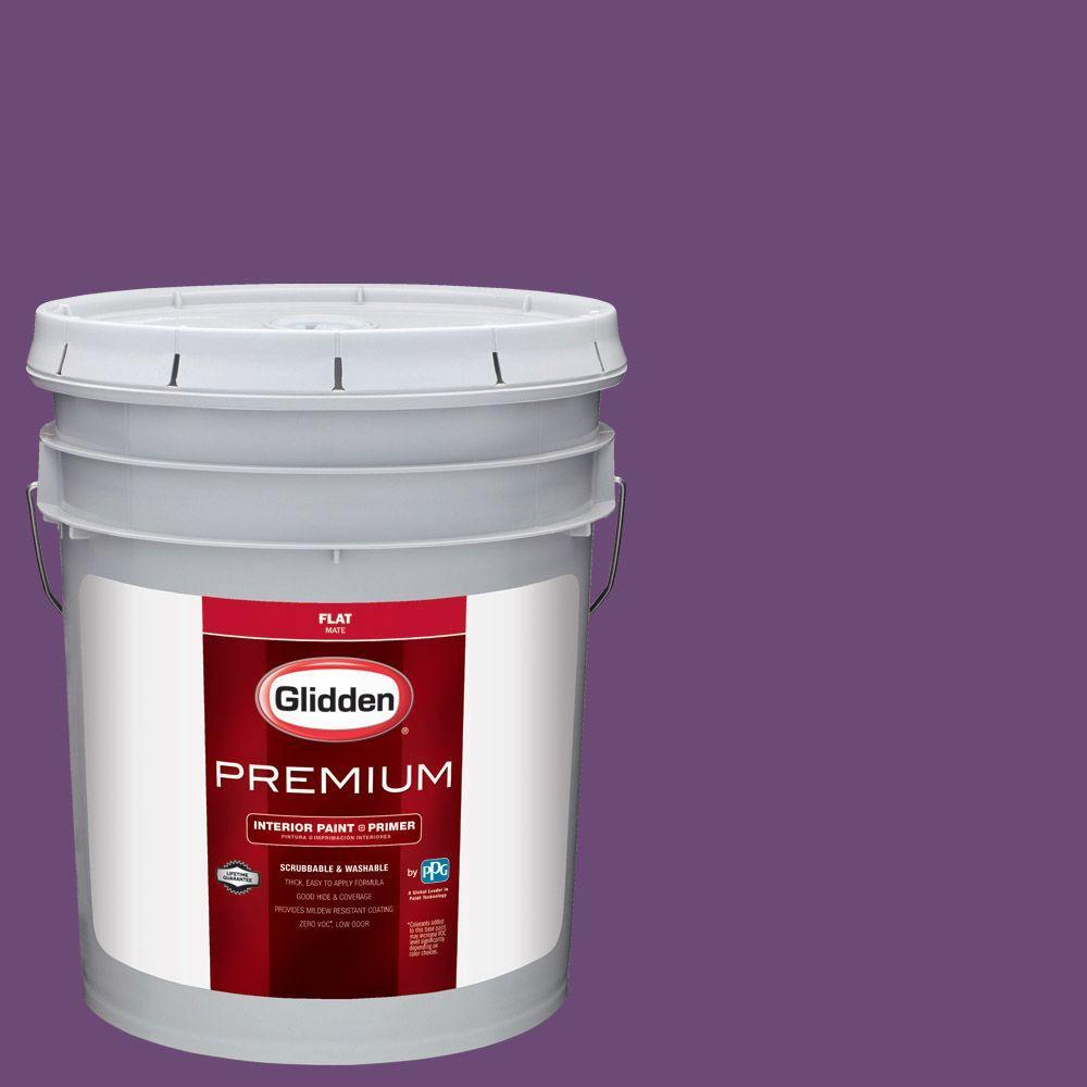 Purple Interior Paint: Glidden Premium 5 Gal. #HDGV53 Regal Purple Flat Interior