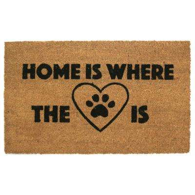 Home Is Where the Heart Paw Is 18 in. x 30 in. Natural Coir Door Mat