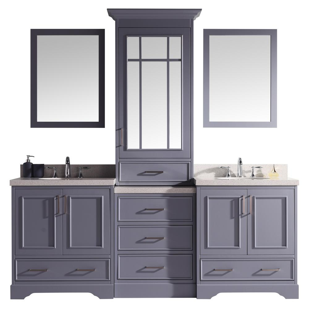 Ariel Stafford 85 in. W x 22 in. D Bath Vanity in Grey with Quartz Vanity Top in White with White Basins and Mirrors