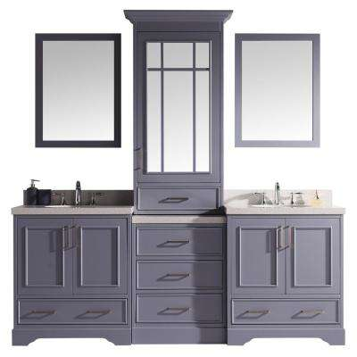 Stafford 85 in. W x 22 in. D Bath Vanity in Grey with Quartz Vanity Top in White with White Basins and Mirrors
