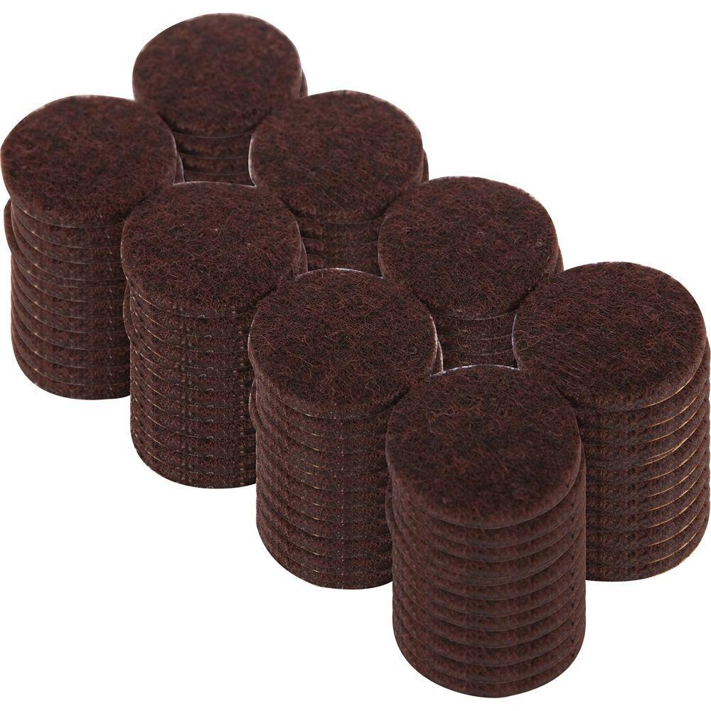 1 in. Heavy Duty Brown Self-Adhesive Felt Pads (96 per Pack)