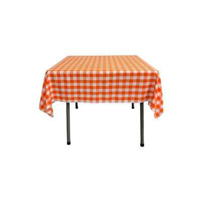 52 in. x 52 in. White and Orange Polyester Gingham Checkered Square Tablecloth