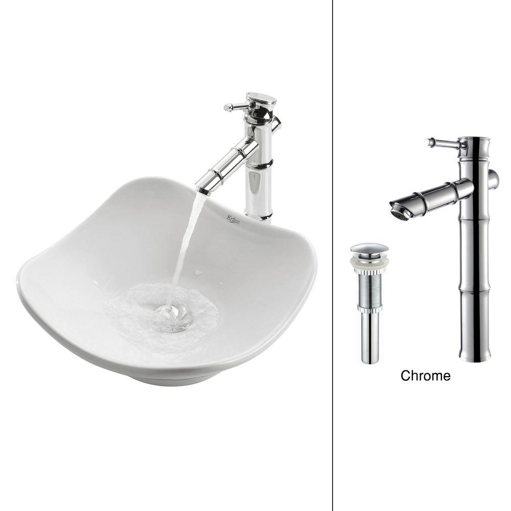 KRAUS Tulip Vessel Sink in White with Bamboo Faucet in Chrome-DISCONTINUED