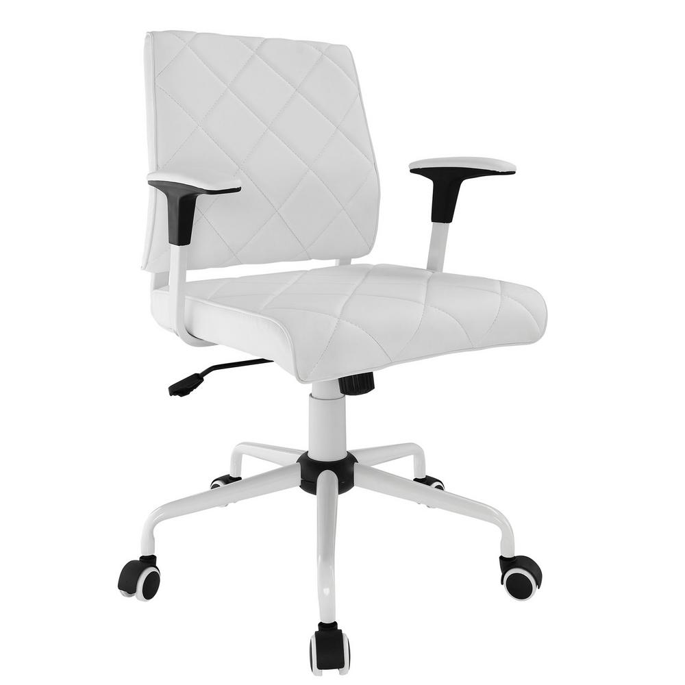 MODWAY MODWAY Lattice White Vinyl Office Chair