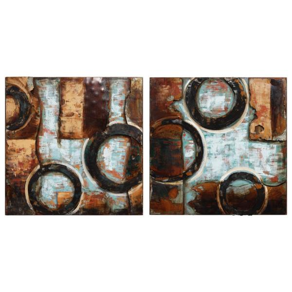 Empire Art Direct Revolutions 1 Mixed Media Hand Painted Iron Wall Sculpture by Primo