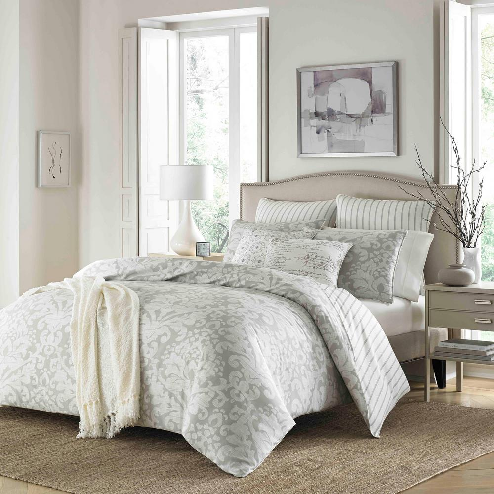 Camden 3-Piece Gray Floral King Duvet Cover Set