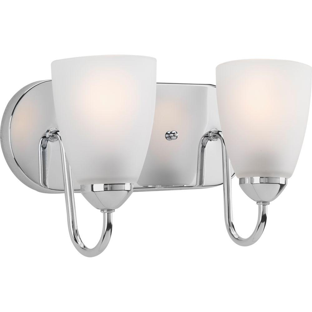 Progress lighting gather 2 light polished chrome bathroom for Chrome bathroom vanity light