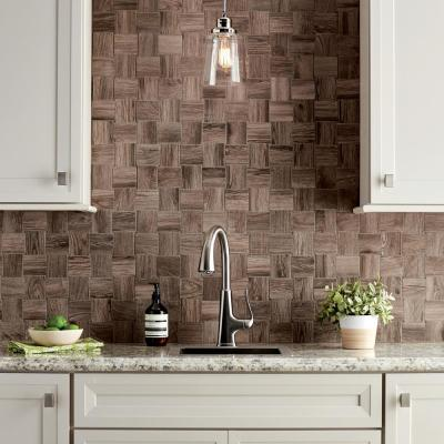 Sierra Wood Modern Weave 12 in. x 12 in. x 8mm Glazed Porcelain Mosaic Floor and Wall Tile (0.96 sq. ft. / piece)