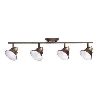 Glasgow 31 in. Oil Rubbed Bronze and Antique Brass Integrated LED Track Lighting Kit