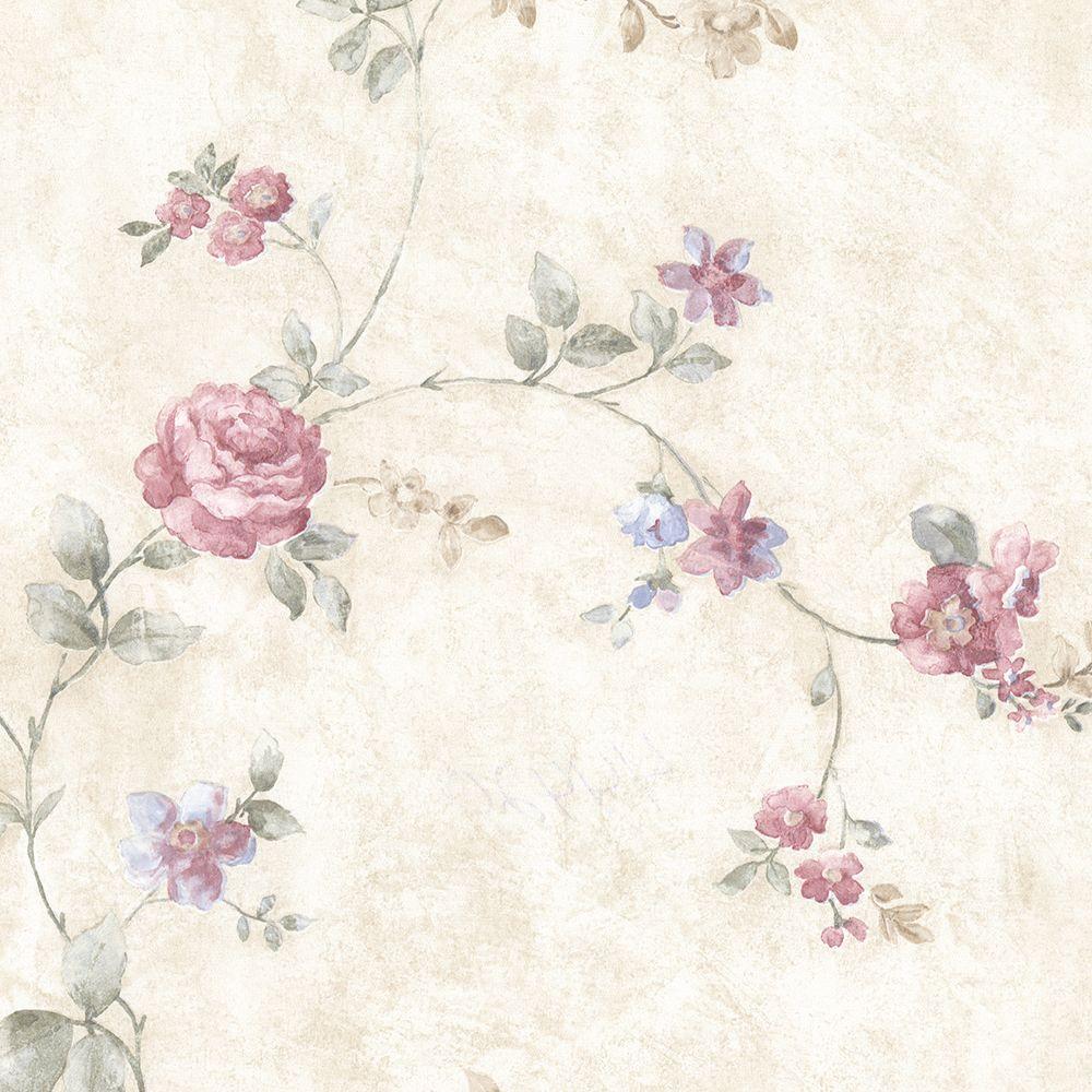 Mary Pink Floral Vine Wallpaper Sample