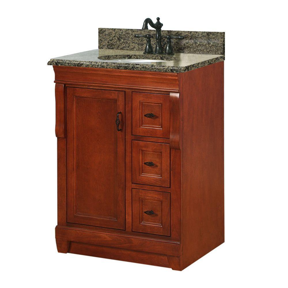 Foremost Naples 25 in. W x 22 in. D Bath Vanity in Warm Cinnamon with Granite Vanity Top in Quadro