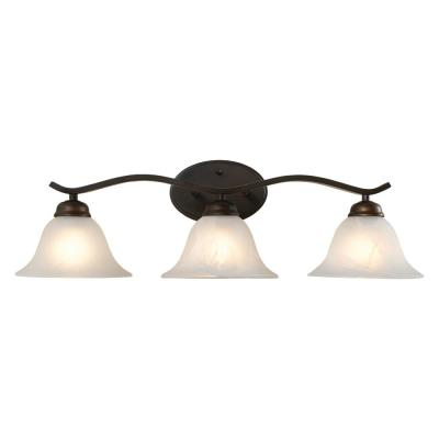Andenne 3-Light Oil Rubbed Bronze Vanity Light with Bell Shaped Marbleized Glass Shades