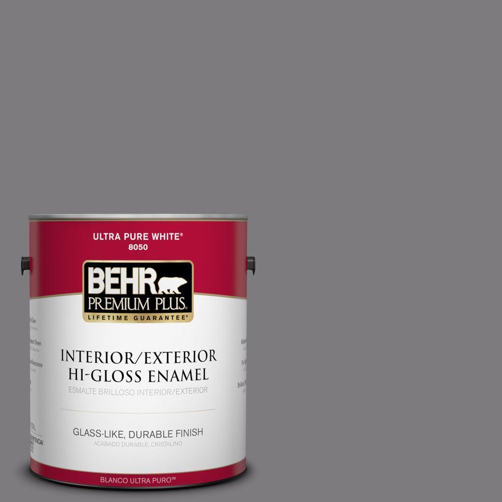 1-gal. #BXC-58 Stormy Gray Hi-Gloss Enamel Interior/Exterior Paint