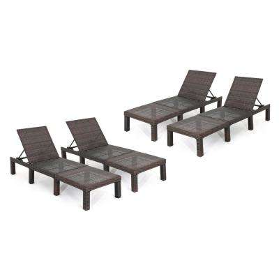 Natalia Multi-Brown 4-Piece Wicker Outdoor Chaise Lounge