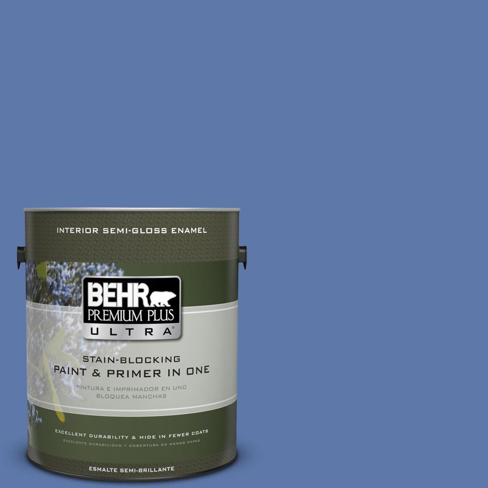 BEHR Premium Plus Ultra Home Decorators Collection 1 gal. #HDC-FL13-6 Baltic Blue Semi-Gloss Enamel Interior Paint and Primer in One