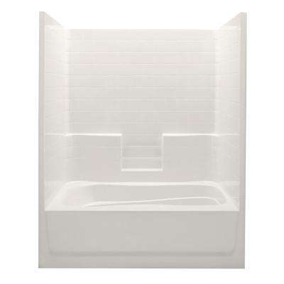 Everyday 60 in. x 42 in. x 74 in. Right Drain 1-Piece Bath and Shower Kit in Bone