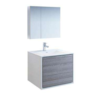 Catania 30 in. Modern Wall Hung Vanity in Glossy Ash Gray with Vanity Top in White with White Basin and Medicine Cabinet