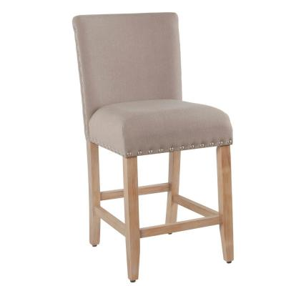 Upholstered 24 in. Tan Bar Stool