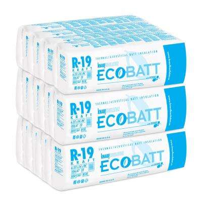 R-19 Kraft-Faced Fiberglass Insulation EcoBatt 6-1/4 in. x 16 in. x 96 in. (12-Bags)