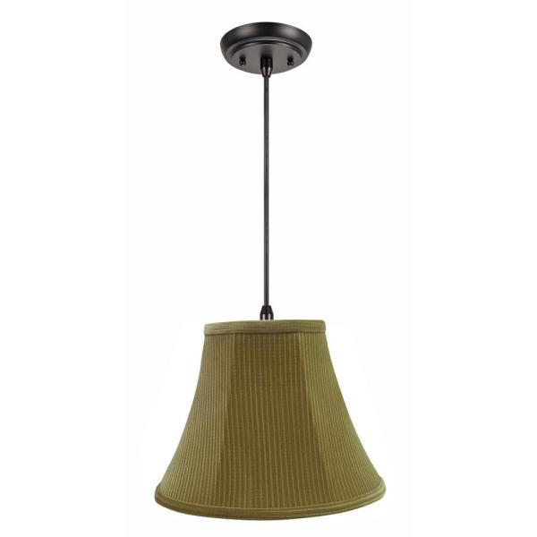 1-Light Oil Rubbed Bronze Pendant with Brown-Green Bell Fabric Shade