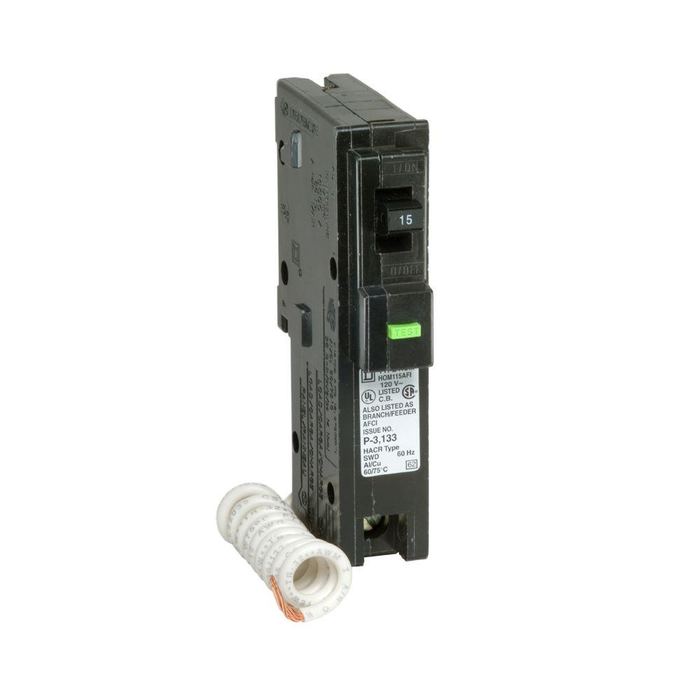 Square D Homeline 15 Amp Single-Pole Plug-On Neutral Dual Function ...