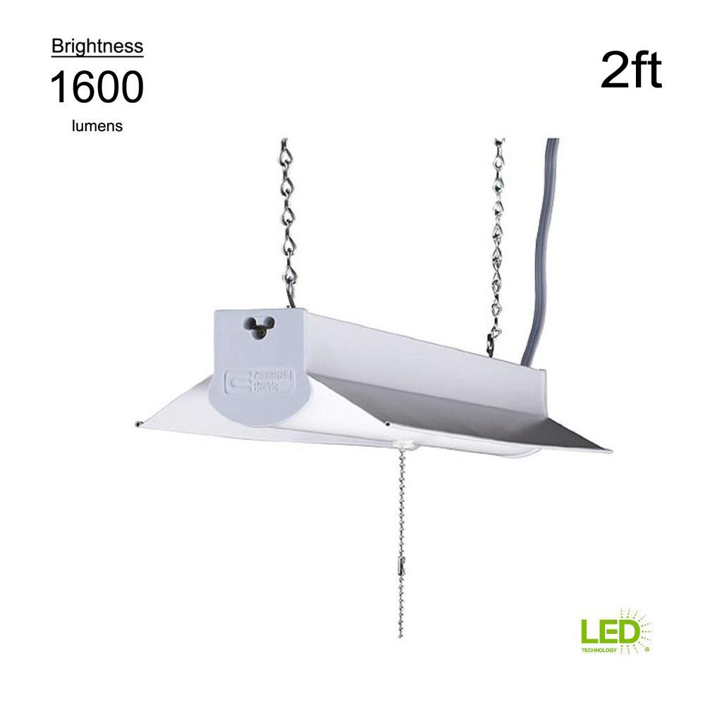 Commercial Electric 4000K 2 ft. White Integrated LED Linkable Shop Light (with 5 ft. linking cord)