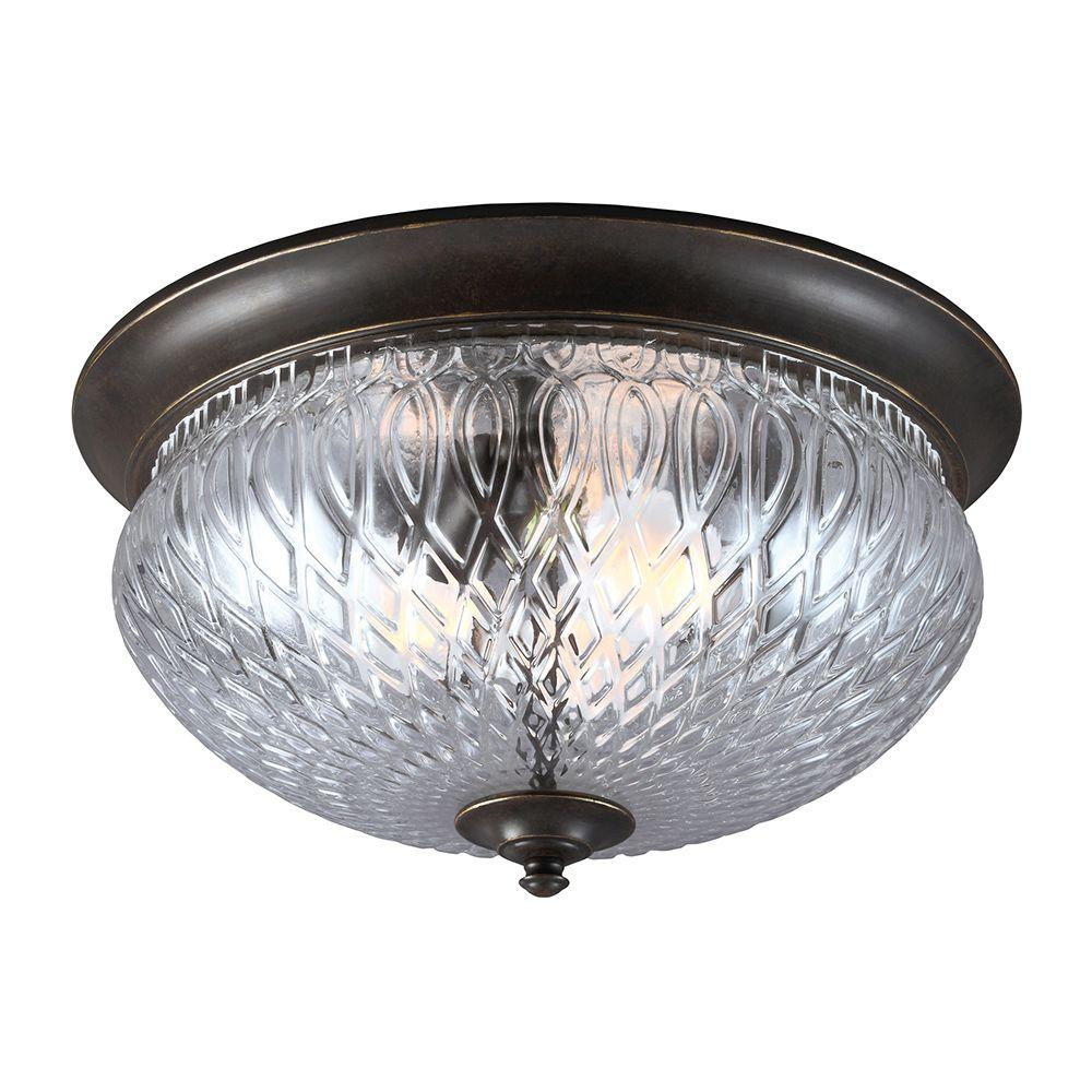 Sea Gull Lighting Garfield Park 3-Light Outdoor Burled Iron Ceiling Flushmount with Clear Glass
