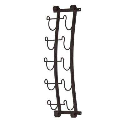 Aurinda Wall Mount 5-Bottle Wine Rack in Black
