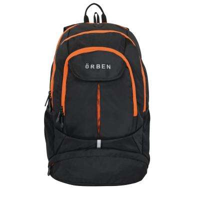 20 in. Orange/Black Polyester Backpack