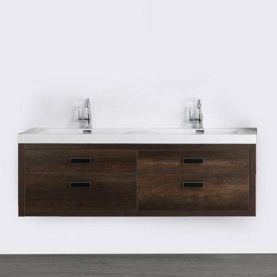 63 in. W x 19.4 in. H Bath Vanity in Brown with Resin Vanity Top in White with White Basin