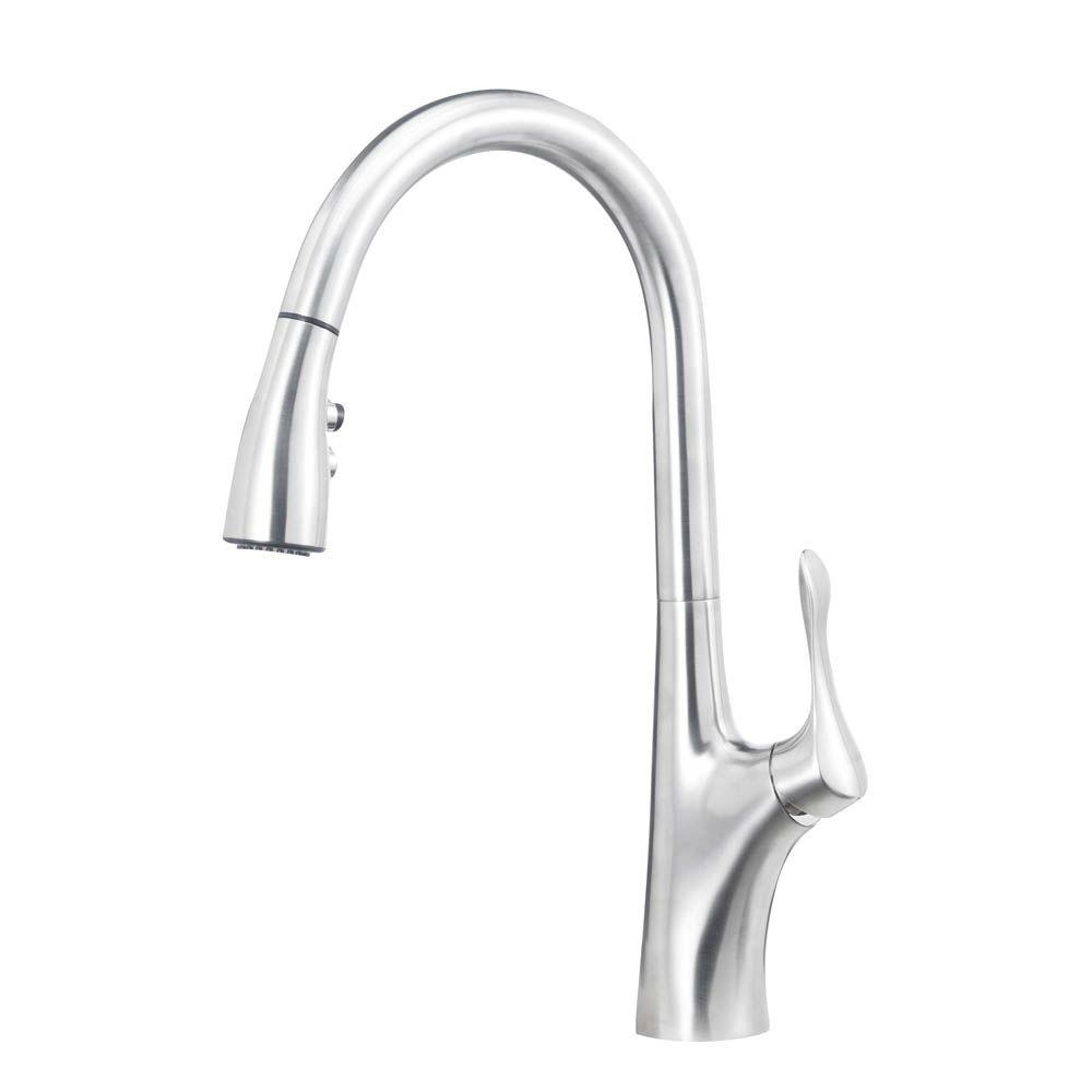 Gentil Blanco Napa Single Handle Pull Down Sprayer Kitchen Faucet In Stainless  Steel