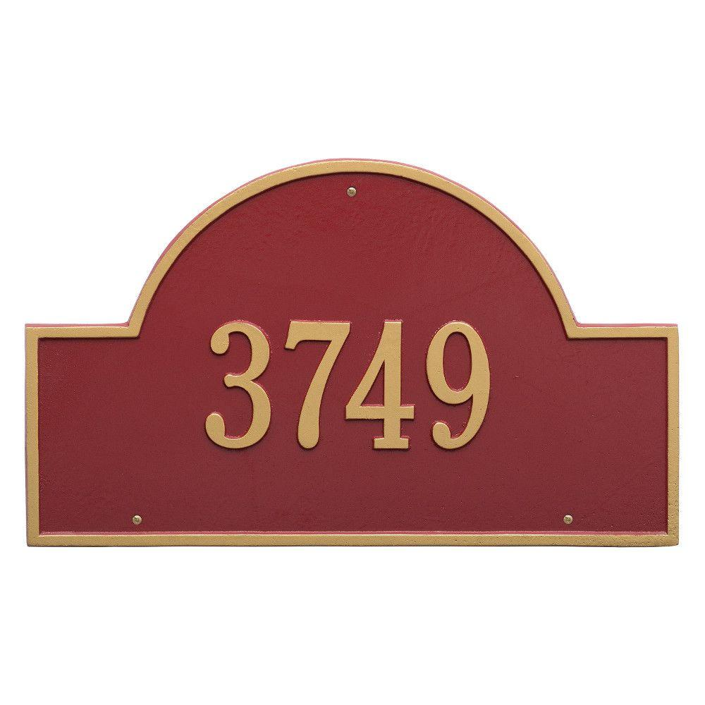 Arch Marker Estate Red/Gold Wall 2-Line Address Plaque