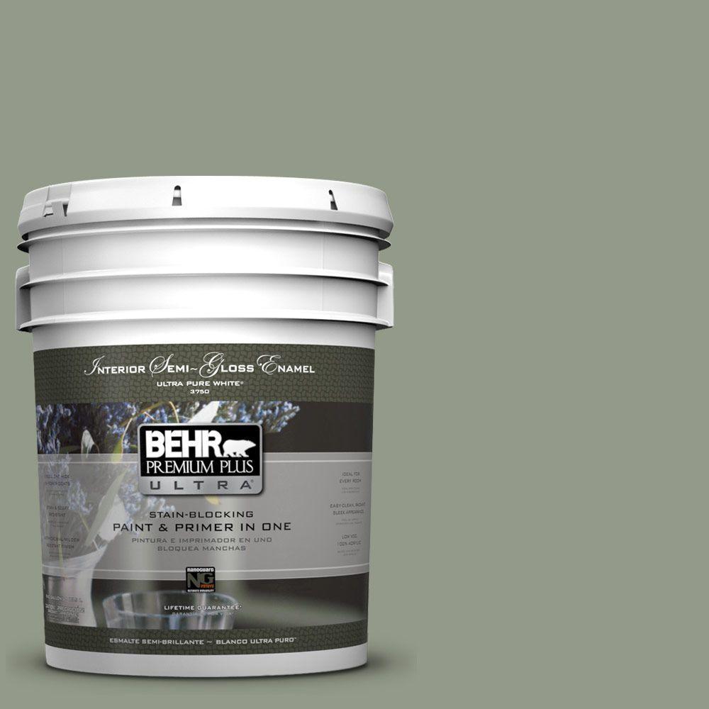 BEHR Premium Plus Ultra 5-gal. #430F-4 False Cypress Semi-Gloss Enamel Interior Paint