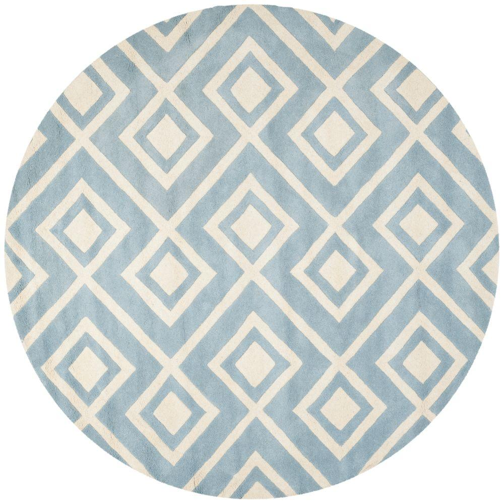 Safavieh Chatham Blue/Ivory 7 ft. x 7 ft. Round Area Rug