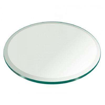 24 in. Clear Round Glass Table Top, 3/8 in. Thickness Tempered Beveled Edge Polished