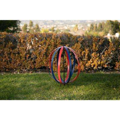 20 in. Tall Blue and Red Dual Metal Round Hanging or Stake Sphere