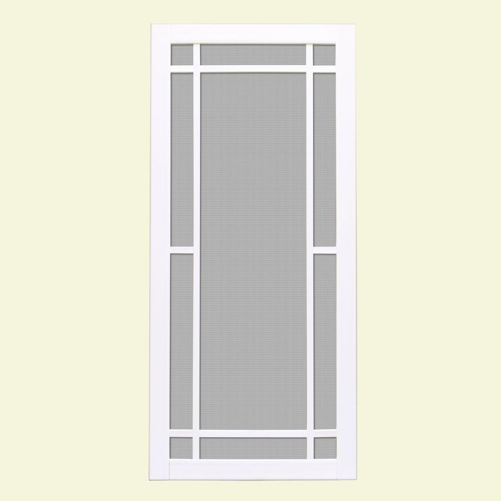 Unique Home Designs 32 in. x 80 in. Napa White Outswing Vinyl Hinged Screen Door