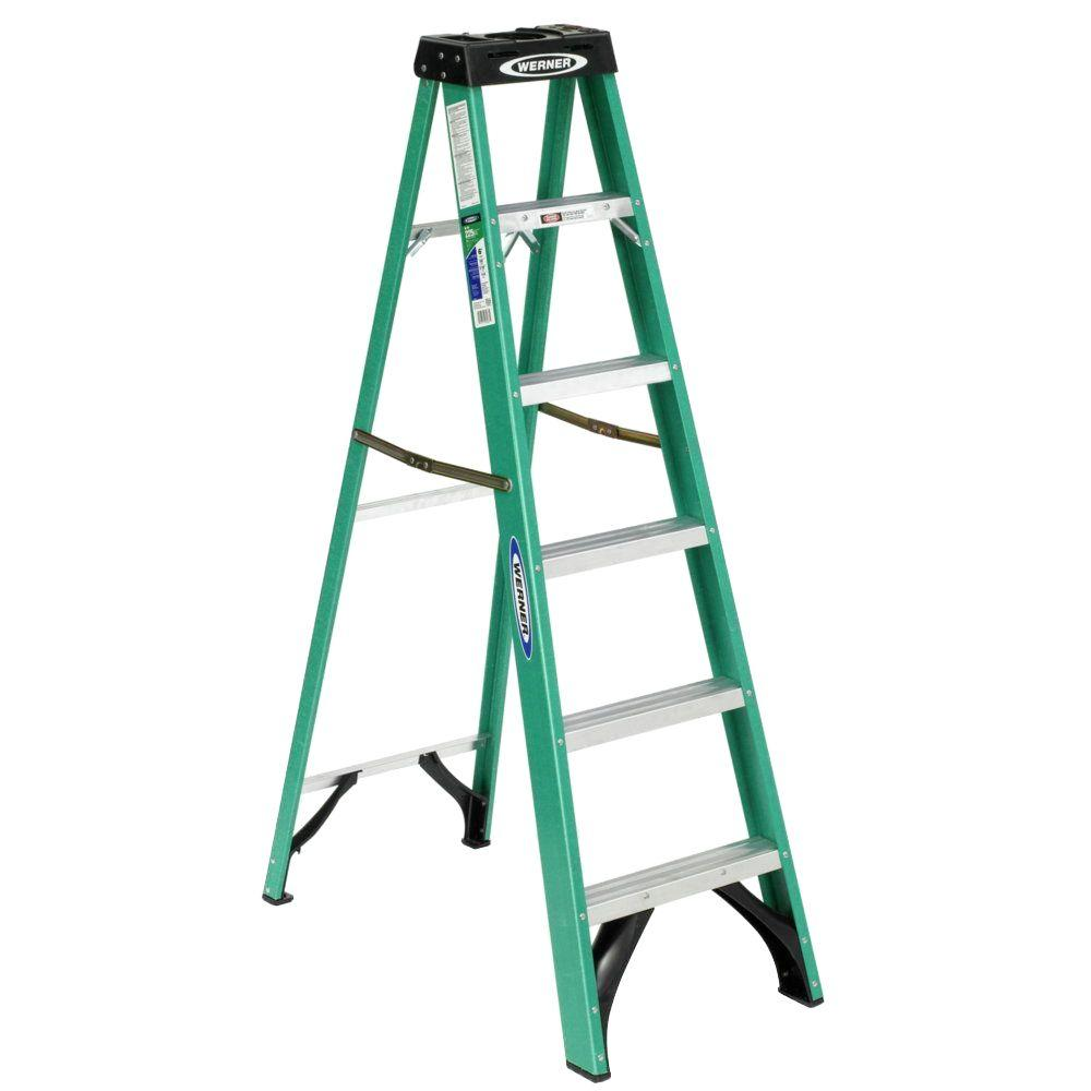 Werner 6 Ft Fiberglass Step Ladder With 225 Lb Load