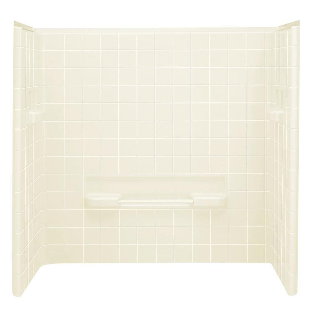 STERLING All Pro 60 in. x 31-1/2 in. x 59 in. 3-piece Direct-to-Stud Shower Wall in Biscuit
