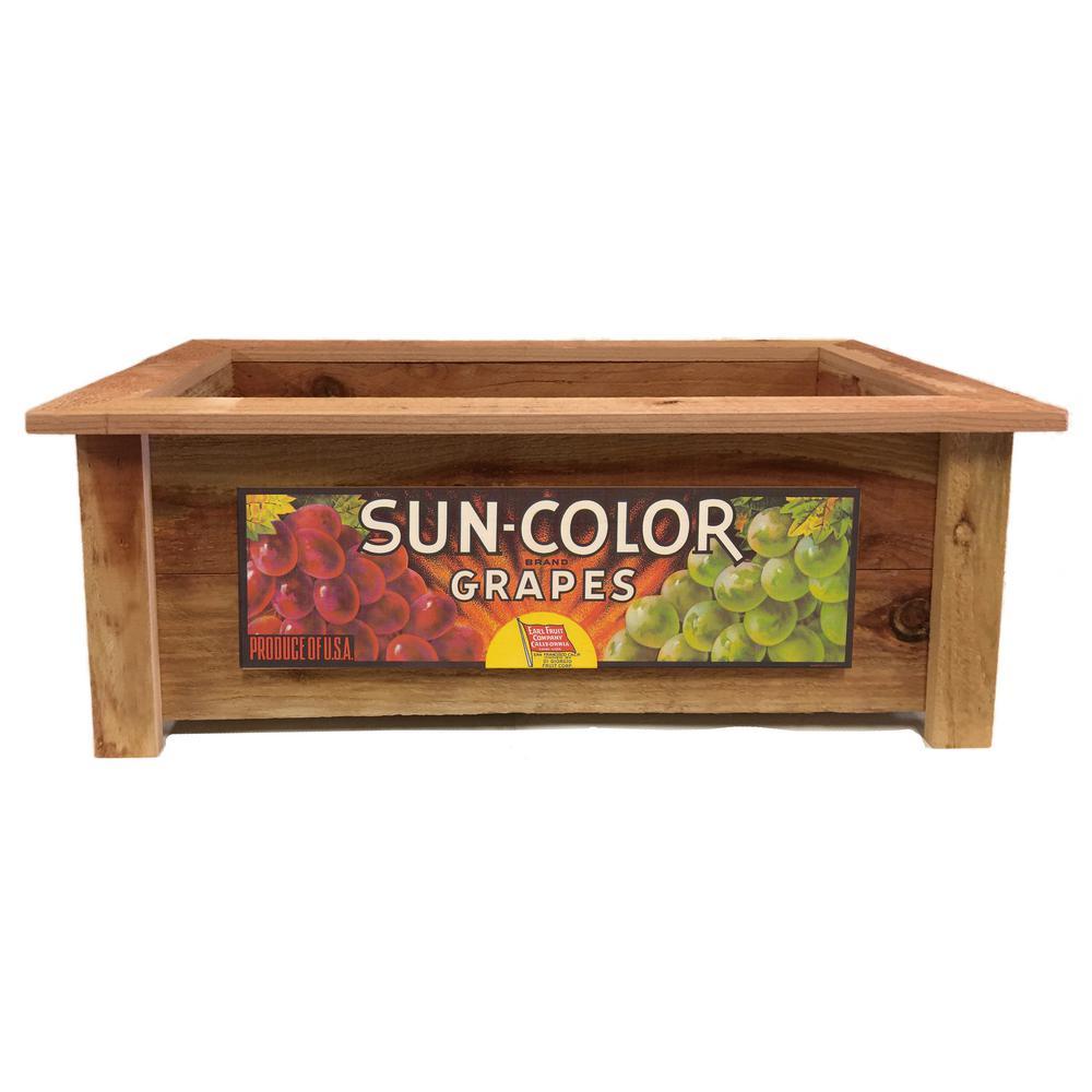 Redwood Rectangular Planter Box with Sun Color Grapes Art