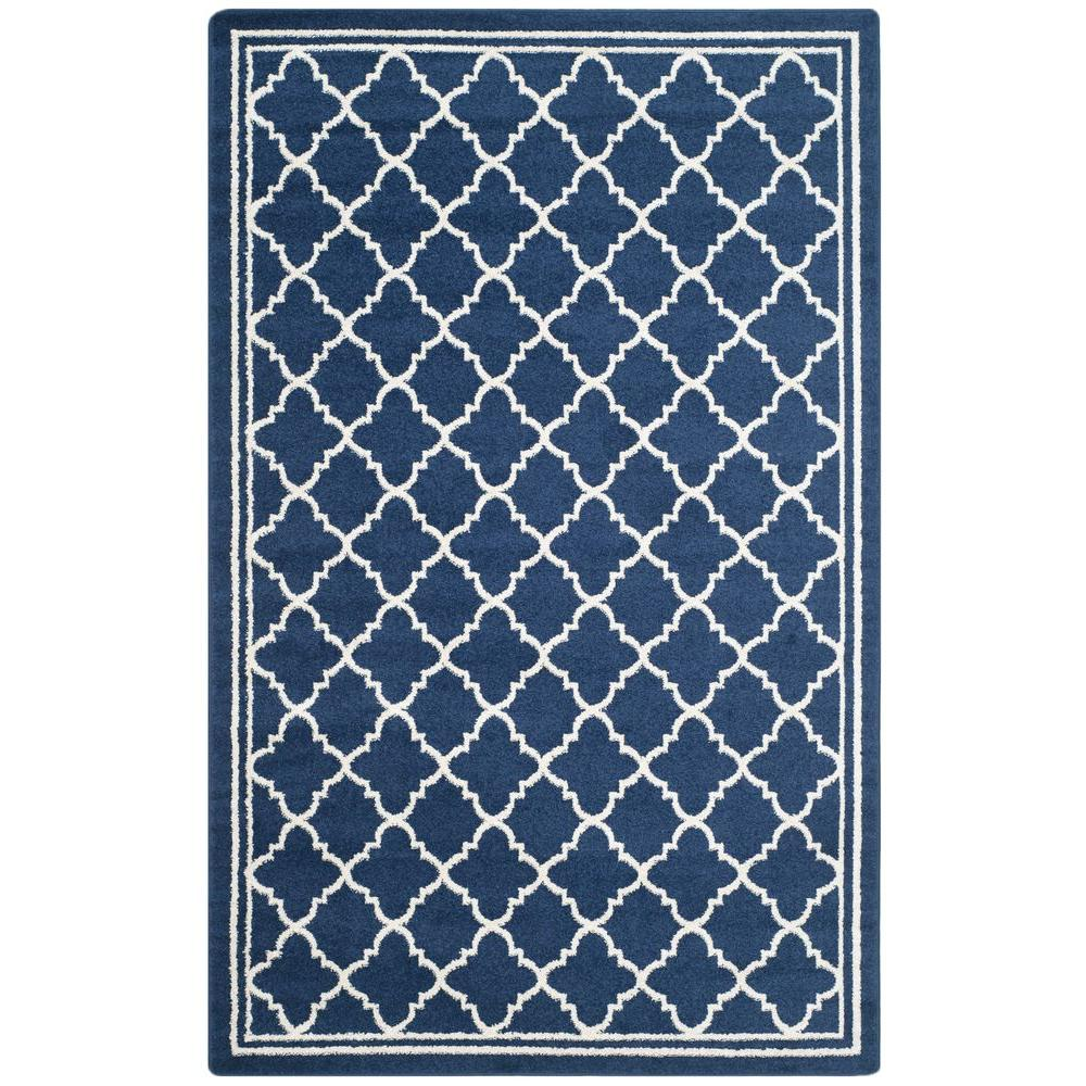 Safavieh Amherst Navy Beige 4 Ft X 6 Ft Indoor Outdoor