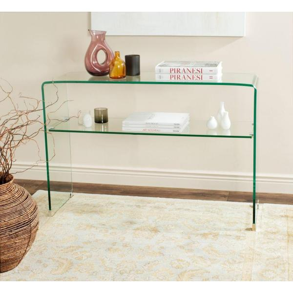 Hollis 44 in. Clear Rectangle Glass Console Table with Shelves