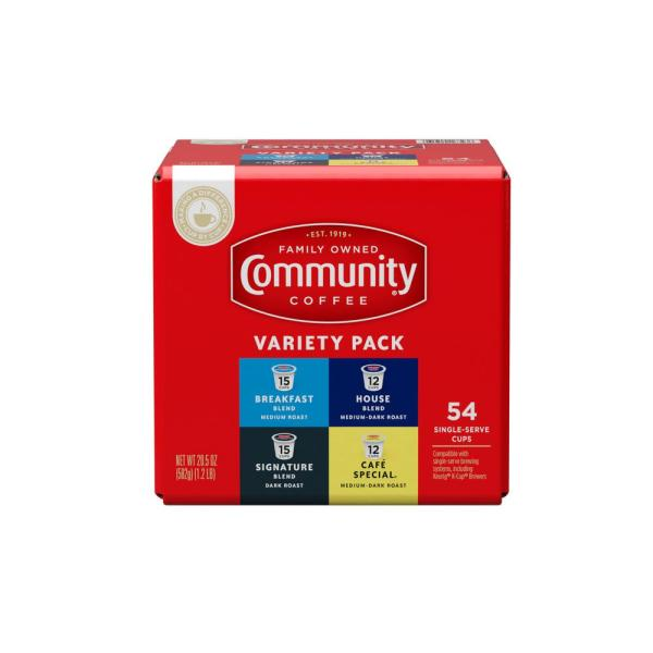 Community Coffee Breakfast, Signature, House, & Café Special Variety Pack Single Serve 54 count Box